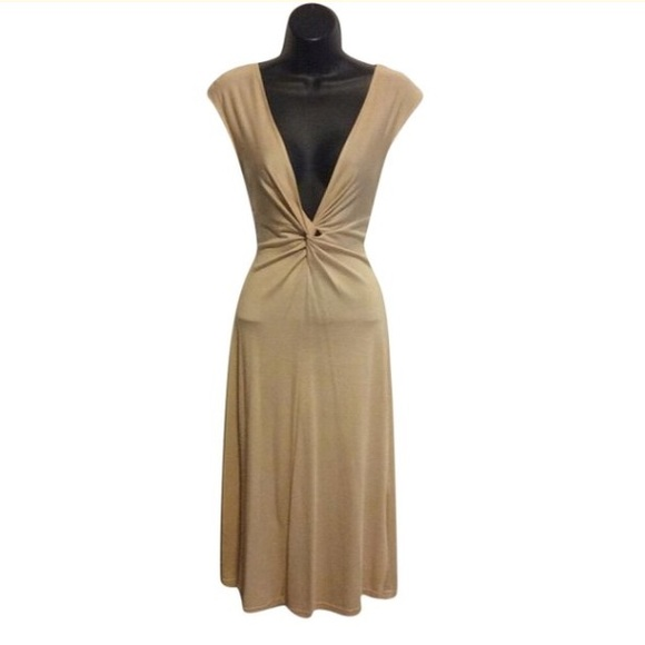 In The New Dresses & Skirts - In the New Nude Silk Knot Plunge Front Dress